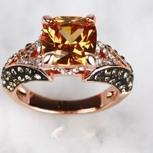 14 K Gold Chocolate and Champagne Ring
